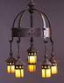 Gustav Stickley, (Five-light) electrolier No.  233 designed c.  1904.  Iron, copper, glass.  Crab Tree Farm.