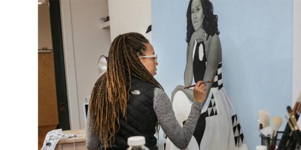 "Amy Sherald at work on her portrait of First Lady Michelle Obama, as featured in HBO's ""Black Art: In the Absence of Light."""
