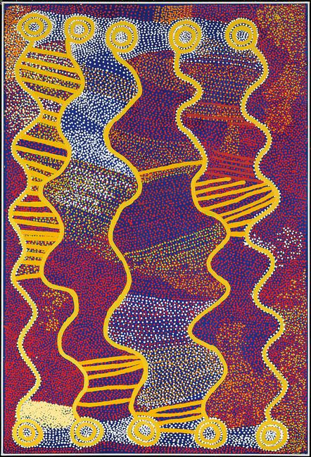 Shorty Jangala Robertson (Warlpiri, born c.1935, Yuendumu, Western Desert, Northern Territory), Ngapa Jukurrpa – Puyurru (Water Dreaming at Puyurru), 2007.  Acrylic on canvas, 183 x 122 cm.  Promised Gift of Will Owen and Harvey Wagner; EL.2011.60.45.  © 2013 Artist Rights Society (ARS), New York/VISCOPY, Australia