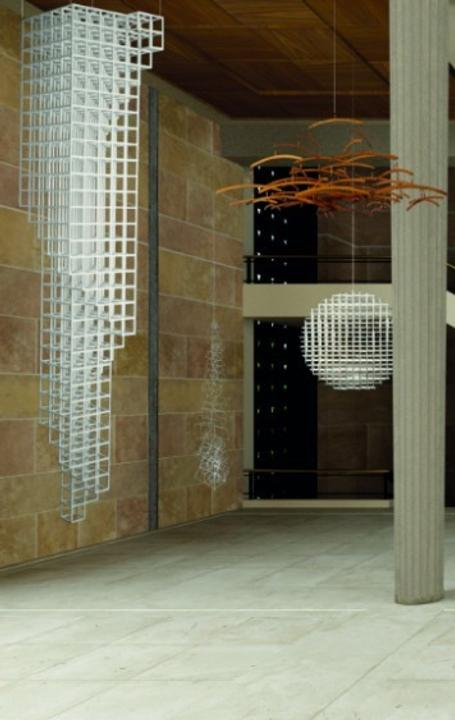 3D model of an exhibition view of Suspension at the Palais d'Iéna, Courtesy of Stéphane Deline