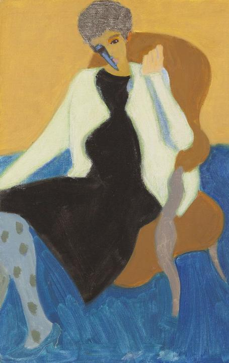 Sally Michel, American (1902-2003).  Seated Woman, 1973.  Oil on board, 20 x 16 inches.  From the Milton and Sally Avery Arts Foundation.