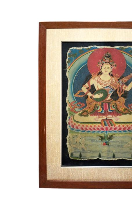 Thangka mural of Goddess Sarawati--Lot 194 in Gianguan Auctions' December 19th sale.