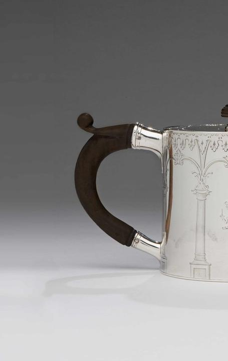 Teapot, 1771-1772; marked by Andrew Fogelberg, Swedish/English, working ca.  1767-deceased ca.  1815; sterling silver and wood; London, England; gift of Angus Sladen of Hampshire, England, a descendent of the fourth earl of Dunmore, 2018-128