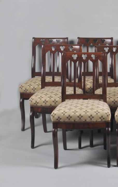 """Lincoln White House Chairs."" Set Twelve American Late Classical Dining Chairs."