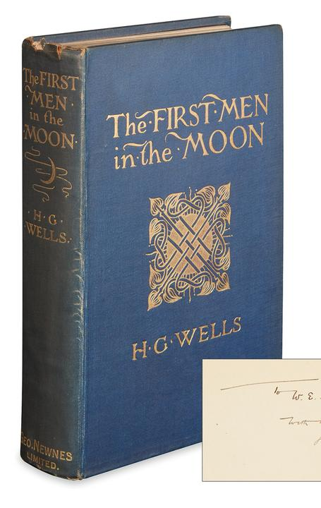 H.G.  Wells, The First Men on the Moon, first English edition, London, 1901.  At auction November 10.  Estimate $6,000 to $9,000.
