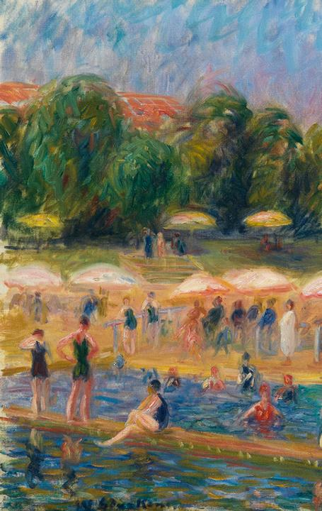 William Glackens, The Beach, Isle Adam, oil on canvas, 1925-26.  Estimate $500,000 to $800,000.