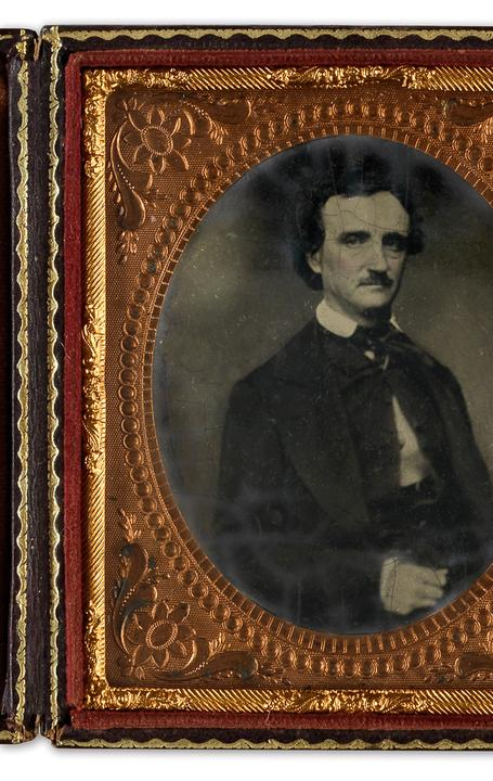 Sixth-plate tintype after a daguerreotype of Edgar Allan Poe, circa 1849-50s.  Estimate $10,000 to $15,000.