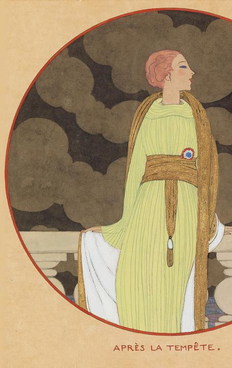 Lot 135: Georges Lepape, Après la Tempête, watercolor, ink, graphite and gold highlighting, cover illustration for Vogue, 1919.  Estimate $25,000 to $35,000.