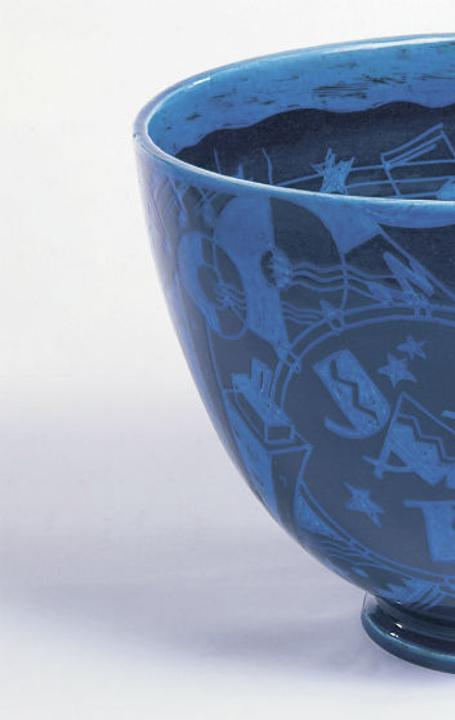 """The New Yorker"" (Jazz) Punch Bowl, 1931; Designed by Viktor Schreckengost (American, 1906–2008); Manufactured by Cowan Pottery Studio (Rocky River, Ohio, USA); Glazed, molded earthenware; 29.9 x 42.2 cm (11 3/4 x 16 5/8 in.); Cooper Hewitt, Smithsonian Design Museum, Gift of Mrs.  Homer Kripke, 1980-21-7; Photo: © Smithsonian Institution"