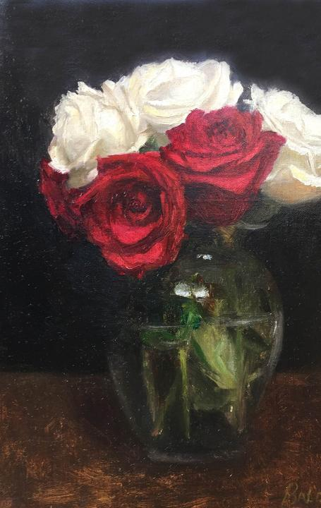Patt Baldino, Roses are Red, oil, 9x12