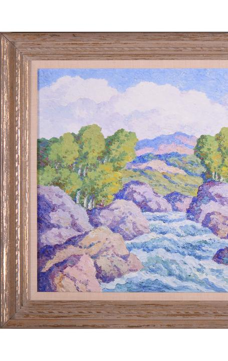 Original oil on board painting signed by the Swedish-born American painter Birger Sandzén (1871-1954), titled In Boulder Canyon, Colorado (1949), one of several works by Sandzén in the sale.