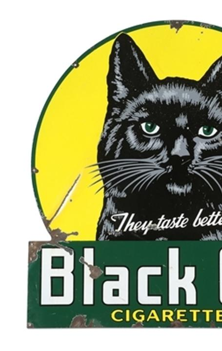 "1945 Black Cat Cigarettes porcelain sign, one of Canada's most attractive porcelain signs, 50 inches by 48 inches, with detailed graphics, marked ""P&M Orilla 45"" lower right (CA$5,310)."