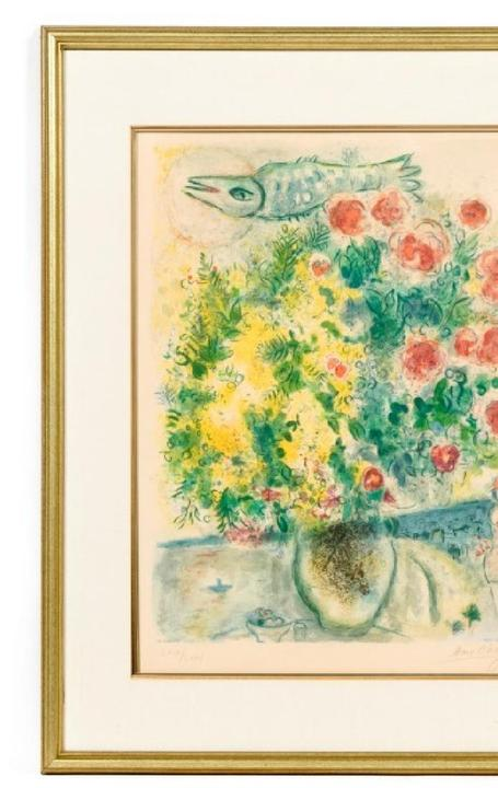 Charles Sorlier limited edition color lithograph (#69/75) on Arches paper of an artwork after Marc Chagall (1887-1985), titled Roses et Mimosas (est.  $10,000-$20,000).