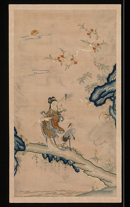 Left: Fairy and Crane, Embroidery with silk from the Qing Dynasty.  Right: Covered ewer, Porcelain painted in enamels from the Qing Dynasty