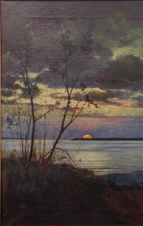 The top lot of the auction was this untitled Luminist landscape painting by the renowned Hudson River School painter Jasper F.  Cropsey ($38,400).