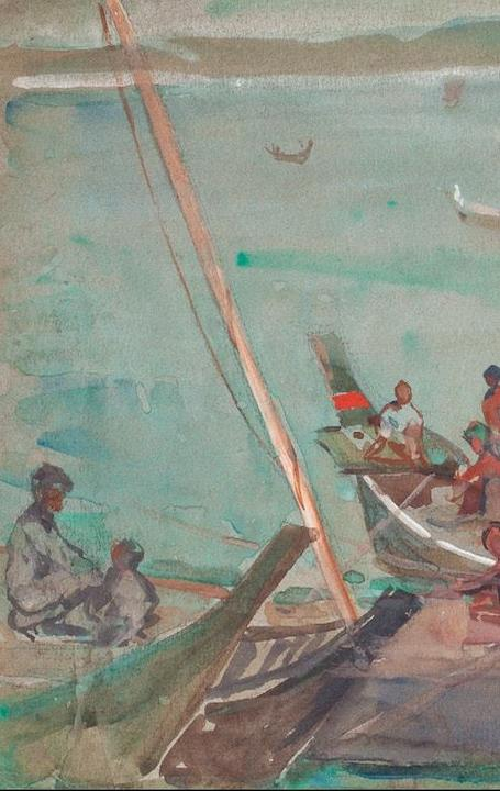 Day, Siamese Coast, S.S.  Malini Hilda May Gordon (1874-1972) Gouache 7 1/4 x 10 in.  Inscribed as title, verso