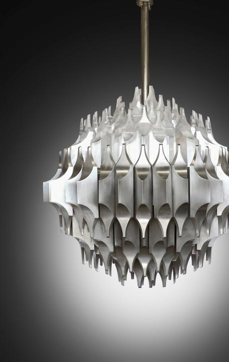 Unique and monumental ceiling light for Arredoluce, 1964-65 (estimate: $30,000-50,000), created by the seminal Lebanese architect and artist Sami El-Khazim for the World's Fair in New York in 1964.  Ex-collection: Shah of Iran