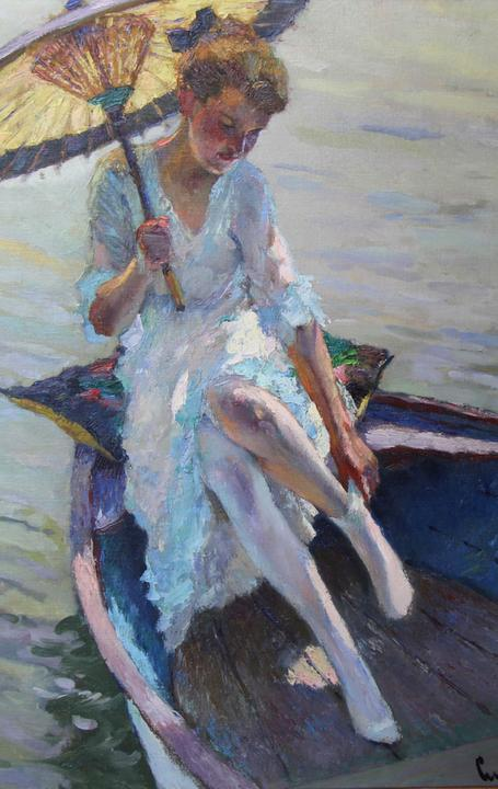 Edward Cucuel (1875–1954), The Parasol, 1915, Oil on canvas.  Courtesy of The Hosek Collection of American Art
