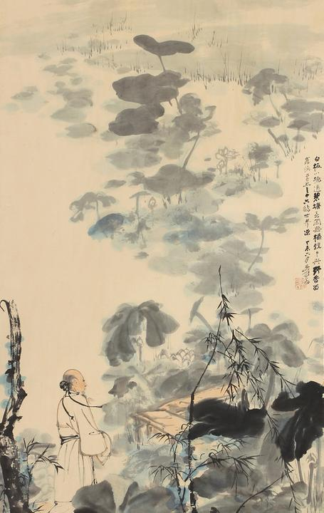 This work, titled The Lotus Pond, 1967, by Zhang Daqian will be offered with an estimate of $150,000-200,000.  Provenance: back cover of the May 10-31, 1970 exhibition catalog at Laky Gallery in Carmel, CA.
