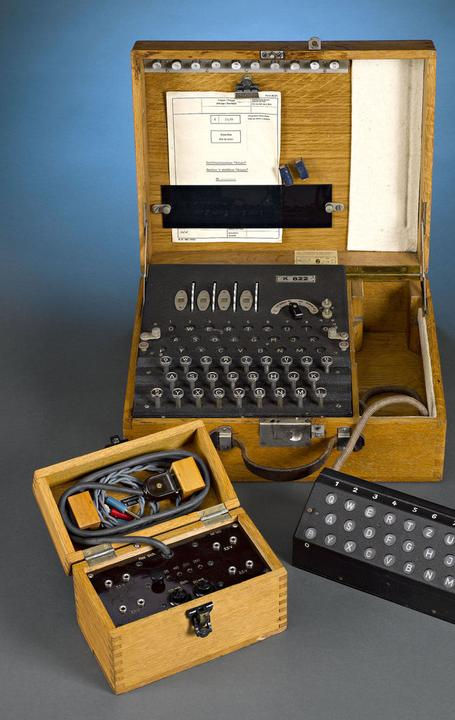 This remarkable Enigma K machine was used to transmit secret messages during World War II.  It is believed by some that the Allies' breaking of the Enigma code shortened the war by two years.