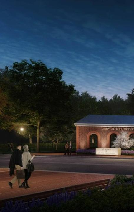 An artist rendering of the Art Museums of Colonial Williamsburg's expansion, showing the institutions' new facade on South Francis Street.
