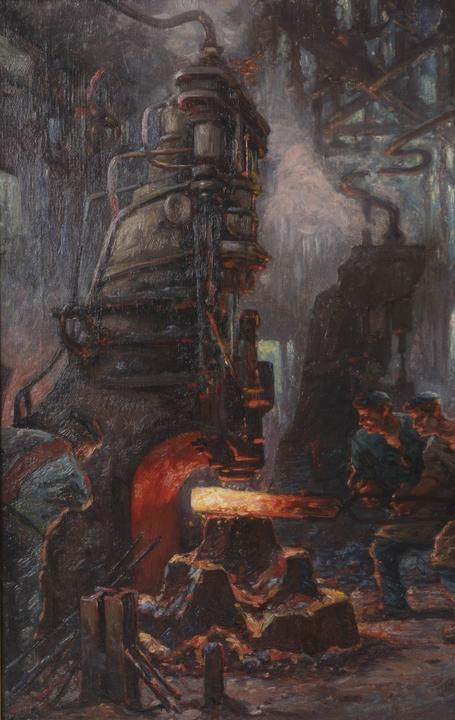 German Expressionist painting of factory workers by Toni Anton Wolter (1879-1929) (est.  $400-$600).