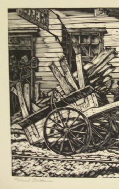 Michael J.  Gallagher, Wood Gatherer, 1935, wood engraving