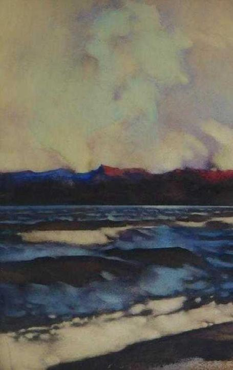 Coastal Maine atmospheric seascape watercolor by the avant-garde artist of the Boston School, George Hawley Hallowell (Mass., 1871-1926) ($3,125).