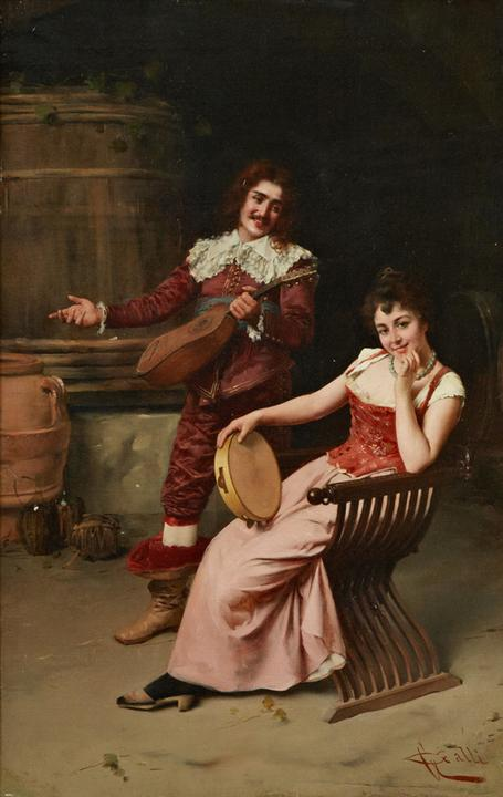 This oil on board painting by Giuseppe Galli, titled A Musical Couple, is expected to sell for $3,000-$5,000.
