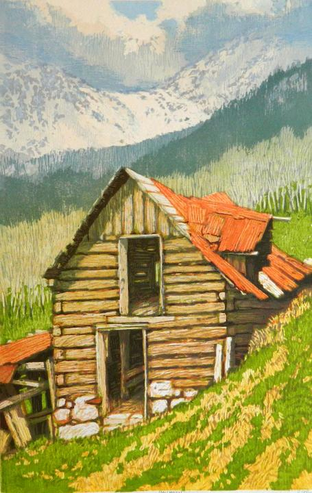 "Leon Loughridge ""Haybarn,"" wood block print"