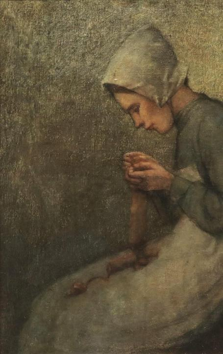 Peasant Knitting by John Douglas Patrick (Am., 1863-1937), exhibited at the 1936 Kansas City Art Institute in a retrospective of the artist's work.