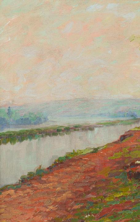 This oil on canvas work by Henry MacGinnis (Am., 1875-1952), titled Erie Canal Sunset, is expected to hammer for $2,000-$4,000.