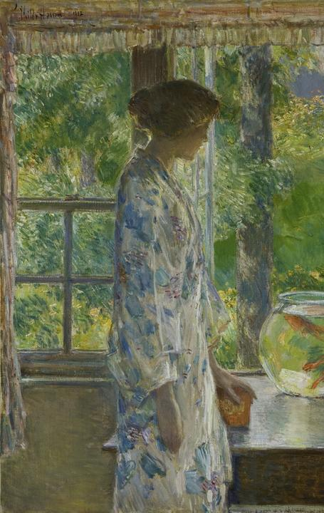 Childe Hassam, American, 1859–1935.  Bowl of Goldfish, 1912.  Oil on canvas 25 1/8 x 30 1/4 inches (63.80 x 76.83 cm) David Owsley Museum of Art, Ball State University Frank C.  Ball Collection, Gift of the Ball Brothers Foundation; 1995.035.073 © Ball State University Museum of Art/Photography by Steve Talley