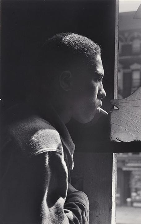"Gordon Parks, ""Trapped in abandoned building by a rival gang on street, Red Jackson ponders his next move,"" 1948, gelatin silver print, part of the exhibition ""Gordon Parks: The New Tide, Early Work 1940–1950"" at the National Gallery of Art through Feb.  18, 2019."