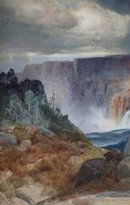 Thomas Moran (American, 1837−1926) Shoshone Falls, Snake River, Idaho, 1875, Watercolor on paper board, Gift of Hugh Gordon Miller, 60.52.47