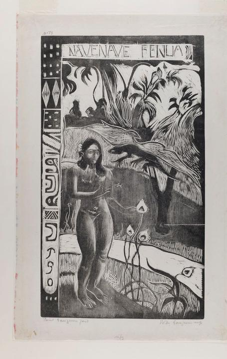 Paul Gauguin,Noa Noa (Fragrance),woodcut printed in black on China paper, sheet: 16 1/4 x 10 in, Gift of Mrs.  Henry Tomlinson Curtiss (Mina Kirstein, class of 1918), Smith College Museum of Art, Northampton, Massachusetts.