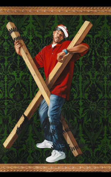 Kehinde Wiley, American, b.  1977.  St.  Andrew, 2006.  Oil and enamel on canvas in antiquated frame with gilded ornaments.  Canvas: 96 x 84 inches Framed: 108 x 90 inches.  Chrysler Museum