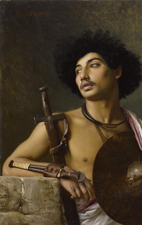 Jean-Léon Gérôme (French, 1824-1904) A Bischari warrior oil on canvas, executed in 1872 Estimate: $150,000-200,000