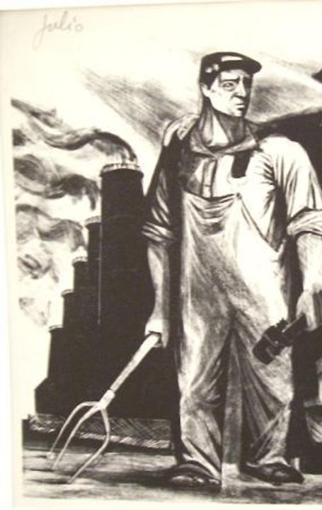 Julio Girona, Farmer and Soldier, about 1940, lithograph, 9 x 12 inches.