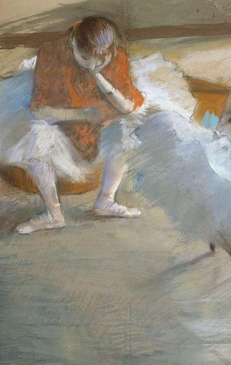 Edgar Degas, Dancers Resting, 1881–85.  Pastel on paper mounted on cardboard.  Juliana Cheney Edwards Collection.