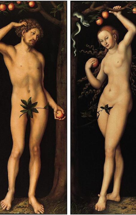 """Adam"" and ""Eve"" painted by German Renaissance painter Lucas Cranach the Elder around 1530."