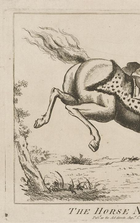 """The Horse America, Throwing Its Master,"" a British political cartoon from 1779.  Library of Congress, Washington."