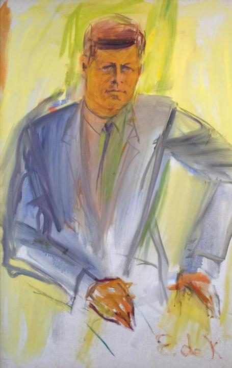 Elaine de Kooning, Kennedy Portrait, 1963.  Oil on canvas, 63 x 43 in.
