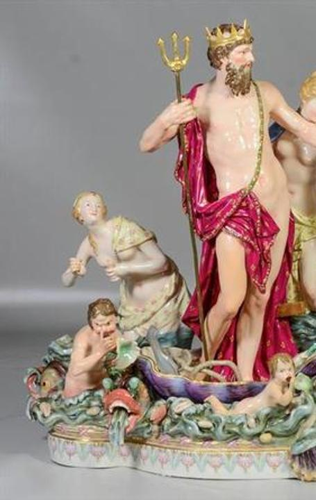 "28"" Meissen multi-part figural centerpiece depicting groupings of Neptune and Amphitrite, Sold for $43,000"