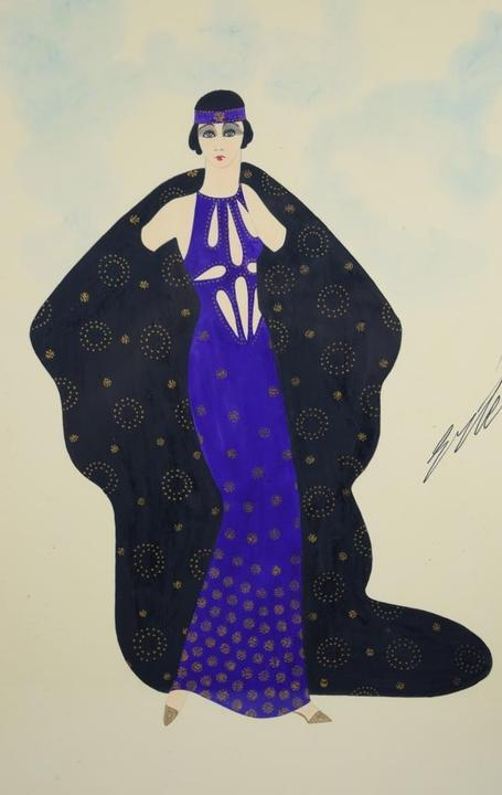 Two original signed gouache on paper paintings by the French-born Russian artist Erte (1892-1990) will be sold, to include this mesmerizing work (est.  $2,000-$6,000).