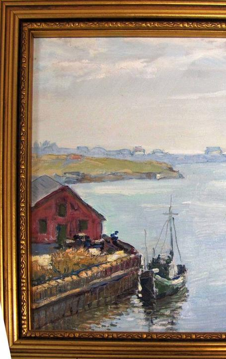 Oil on canvas painting of Gaspe Peninsula in southeastern Quebec, Canada, rendered around 1960 and attributed to Eugene Klimoff (1901-1990) (est.  $1,500-$3,000).