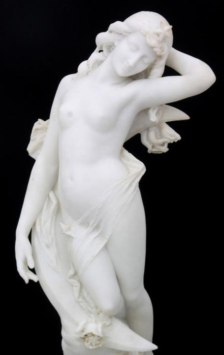 19th century white marble sculpture by Cesare Lapini (It., 1848-1893), depicting Diana (est.  $15,000-$25,000).