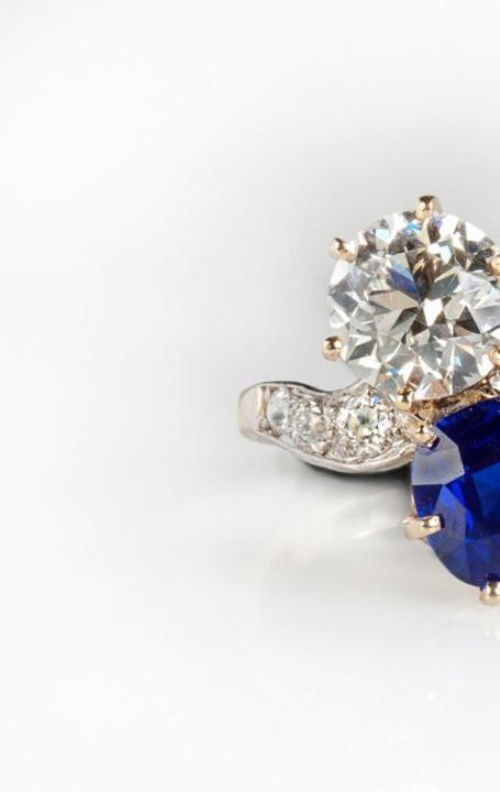 This stunning Kashmir sapphire and diamond ring in a gold and platinum setting sold for $103,500 at Cottone Auctions' Sept.  23-24 Fine Art & Antiques Auction.