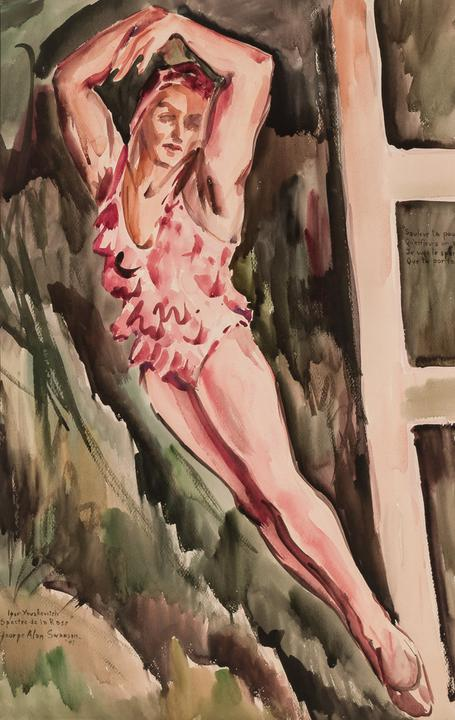 Watercolor painting by George Alan Swanson (N.J., 1908-1968), of the ballet dancer Igor Youskevitch, artist signed and dated 1941 (est.  $3,000-$5,000).