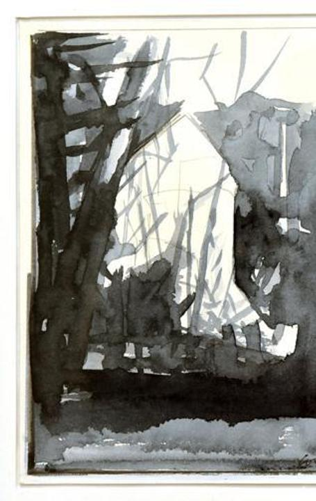 Lou Schellenberg, Dusk Commute (study), n.d., ink on paper, 2017 CAE first place winner